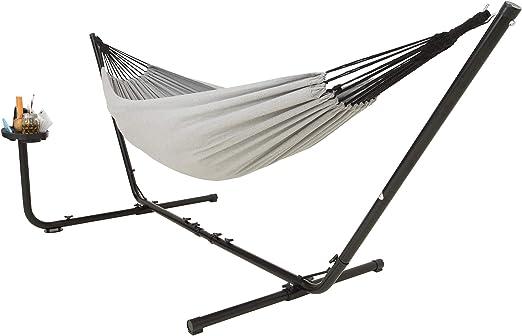 VITA5 Hamaca doble de algodón con estructura exterior, con soporte para vasos y libros, hasta 2 personas/205 kg, 210 x 140, bolsa de transporte, gris: Amazon.es: Jardín