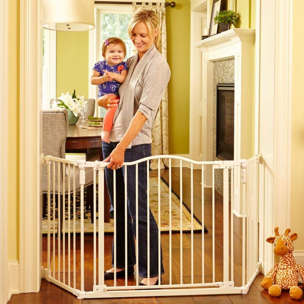 North States 72'' Wide Deluxe Décor Baby Gate: Provides safety in extra-wide spaces with added one-hand functionality. Hardware mount. Fits 38.3''-72'' wide (30'' tall, Soft White) by North States