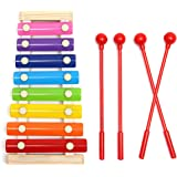 Xylophon MOHOO Glockenspiel Spielzeug 8-Notes Tastatur Multicolor Holz Kinder Musical Spielzeug für Geschenk Kind Weihnachten Geburtstag Toussaint Mit 4 Stück Essstäbchen