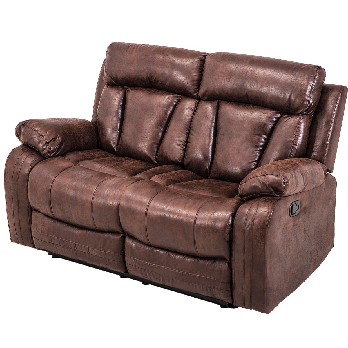 Hooseng, Sectional Loveseat Chaise Couch Sofa Leather Accent Chair Set Manual Recliner Motion for Living, Brown by Hooseng