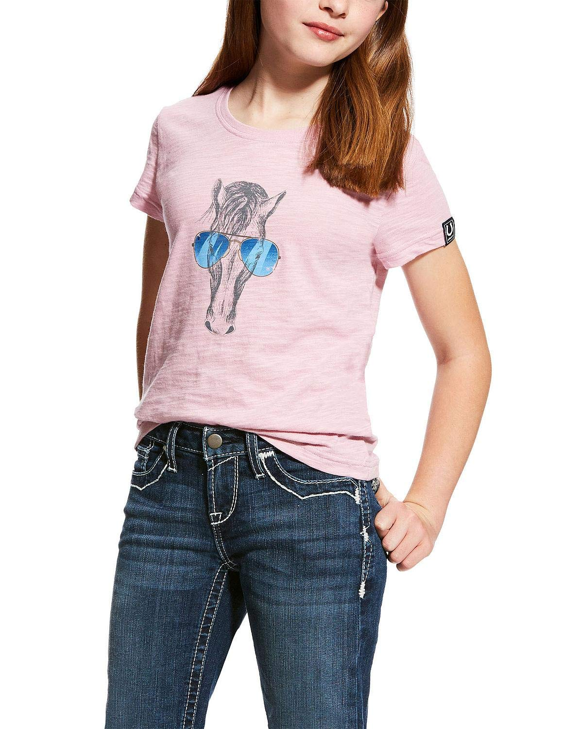 Ariat Girls' Haberdashery Horse Sunglasses Graphic Tee Lavender X-Small by ARIAT (Image #1)