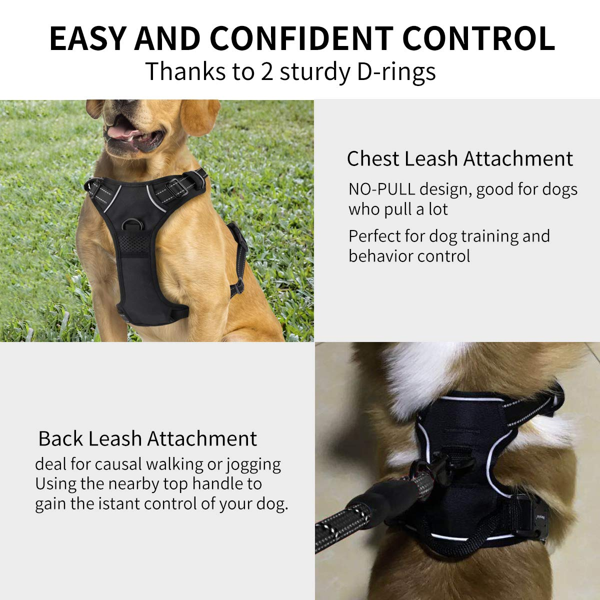 Morstone Vest Harnesses for Dogs, Dog Harness No-Pull Pet Harness Adjustable Outdoor Pet Vest 3M Reflective Oxford Material Vest for Dogs (Size Large)