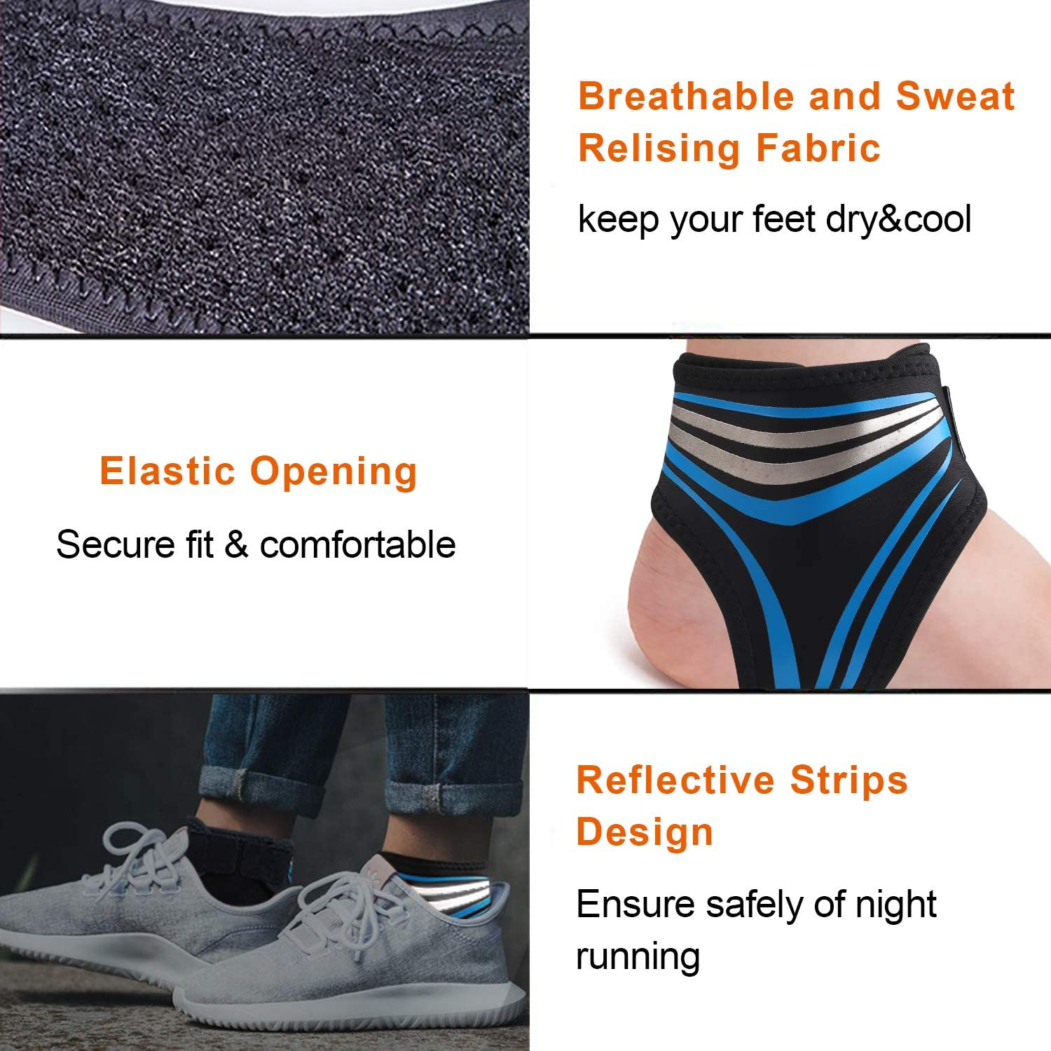 Vetoo Ankle Support Breathable Super Elastic Reduce Ankle Swelling Spur Blood Circulation 1 Pair One Size Fits All Ankle Brace Left /& Right Ideal Foot Sleeve for Injury Recovery