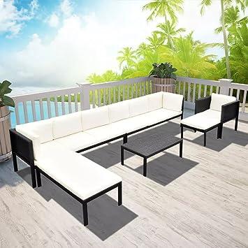 Lingjiushopping Set Sofa Gartenmöbel 24 Stück In Polyrattan Schwarz
