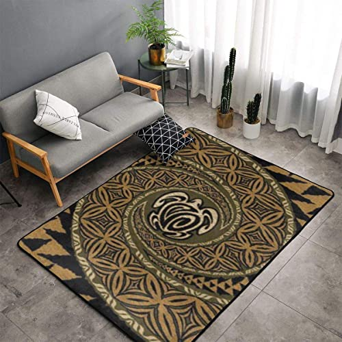 Hawaiian Tapa Honu Turtle Area Rug 3x5 Super Soft Washable Carpet