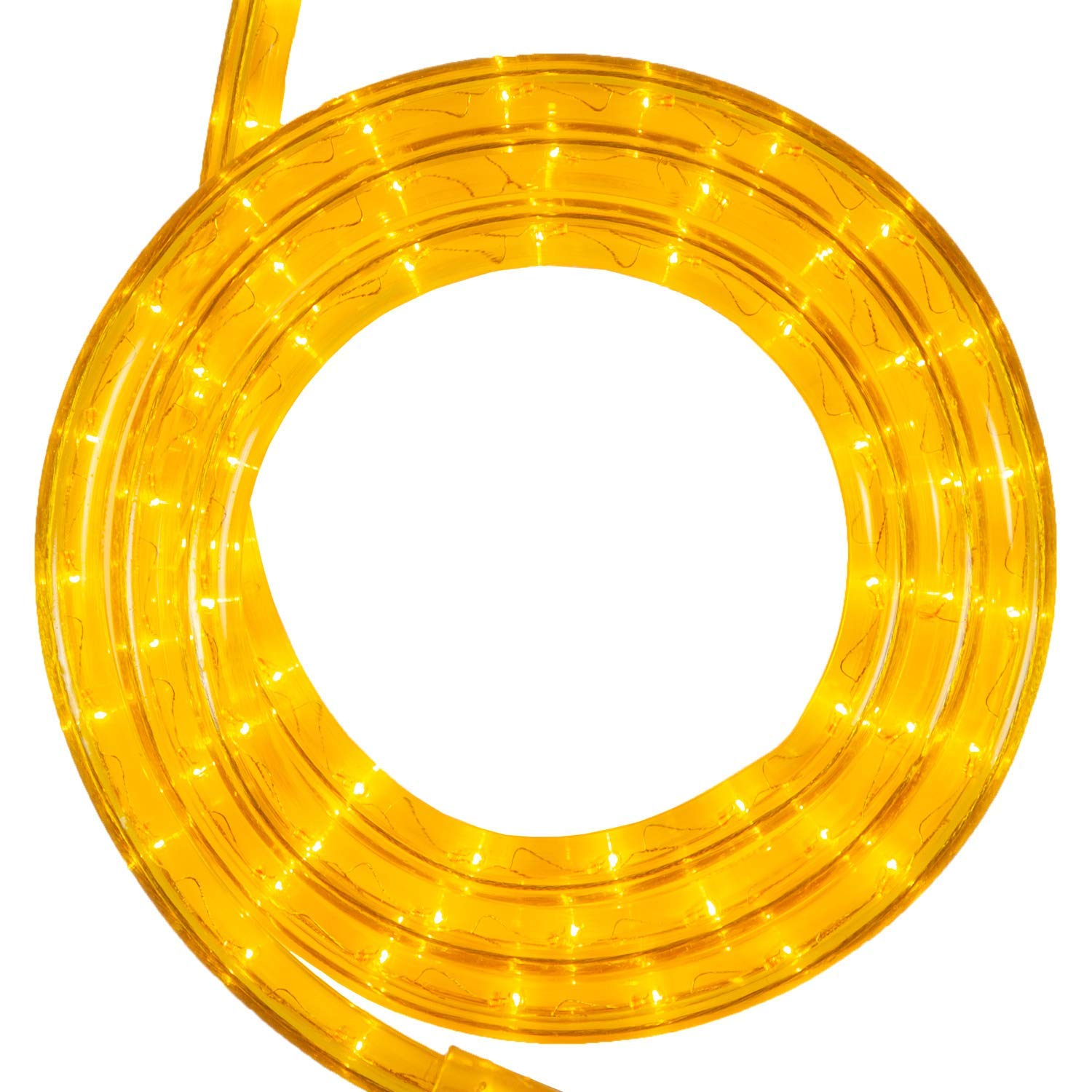 Wintergreen Lighting Incandescent Yellow Rope Light Kit, Includes Power Cord, 120V, ½ Inch, 2-Wire (18', Yellow)