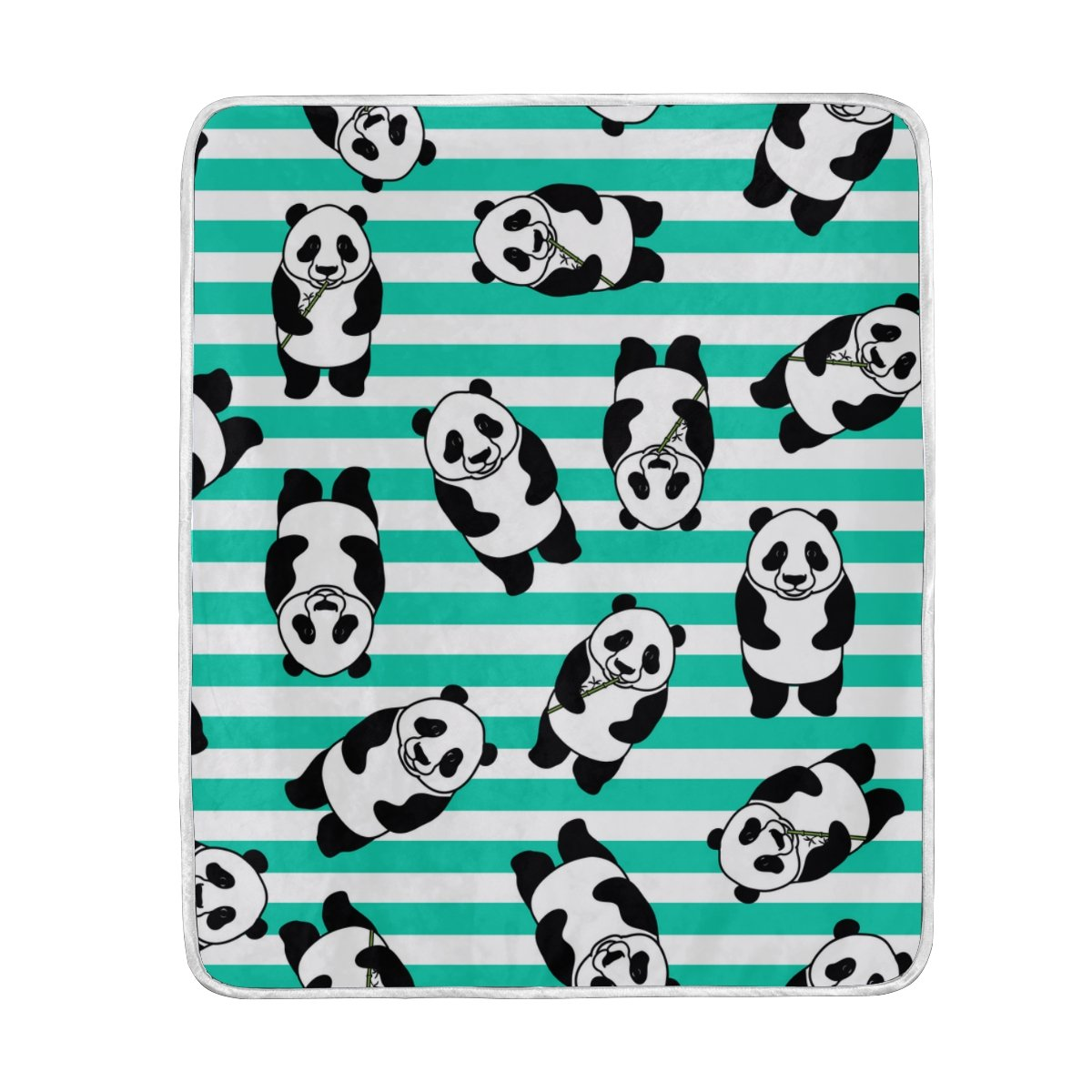 My Little Nest Warm Throw Blanket Striped Panda Lightweight MicrofiberSoft Blanket Everyday Use for Bed Couch Sofa 50'' x 60''