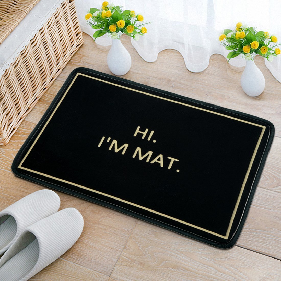 Hi I'm Mat printed for Home/Office/Bedroom Neoprene Rubber Non Slip Backing Machine Washable, 23.6''x15.7''by A-COUNT