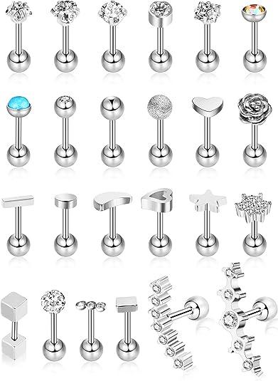 Hicarer 24 Piezas 16G Pendientes de botón de Acero Inoxidable Pendiente de Oreja de joyería Conjunto de aretes de cartílago para Mujeres niñas Favors: Amazon.es: Joyería