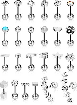Hicarer 24 Piezas 16G Pendientes de botón de Acero Inoxidable Pendiente de Oreja de joyería Conjunto de aretes de cartílago para Mujeres niñas Favors