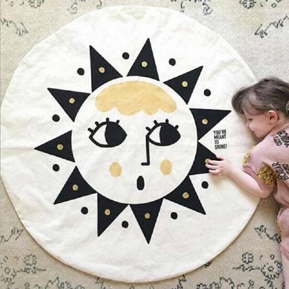 HILTOW Cartoon Sun Face Area Rugs (Diameter:39.5 inches), Moden Floor Rug Mat Collection for Children Living Dining Room Home Decoration