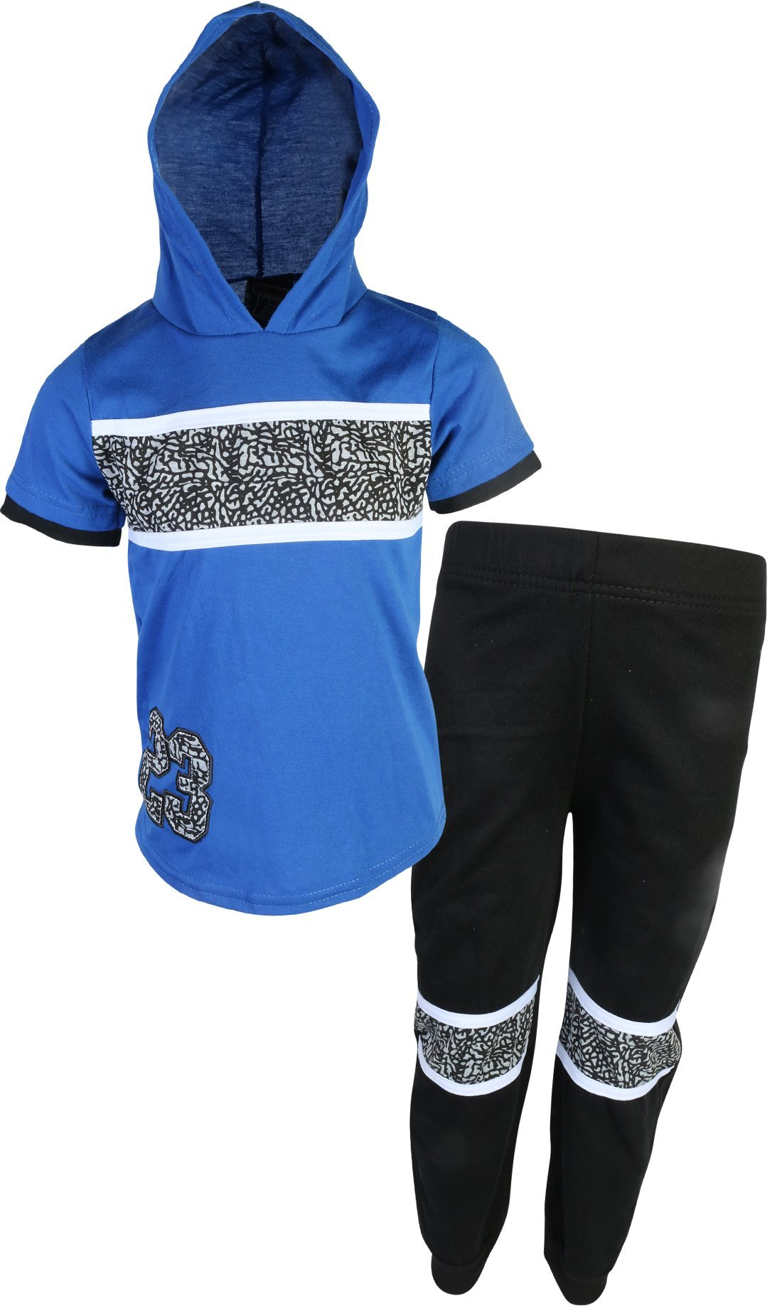 Quad Seven Boys 2 Piece Jogger Set with Short Sleeve Top, Blue/Black, Size 4'