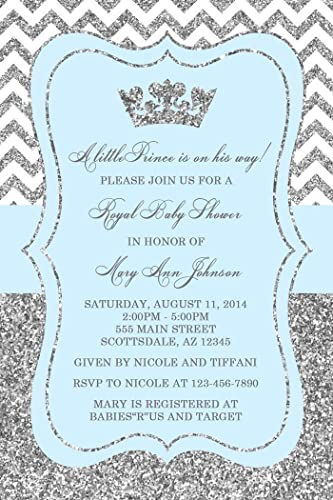 Amazon Com Prince Baby Shower Invitations In Silver And Baby Blue
