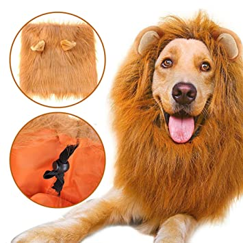 Peluca de Melena de Leon para Perro Ajustable Lavable 35-80cm Perfecto para Perros Grandes