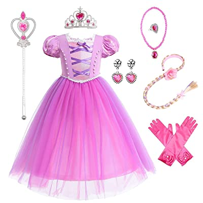 MYRISAM Girls Rapunzel Dress Puff Sleeve Princess Sofia Costume Halloween Cosplay Ball Gown w/Accessories Wig Hoop Braids: Clothing