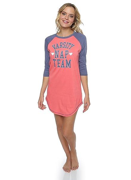 "2fc1ac47 Sleep & Co Women's Printed Logo ""Varsity Nap Team"" CrewNeck  Sleepshirt Coral Heather"