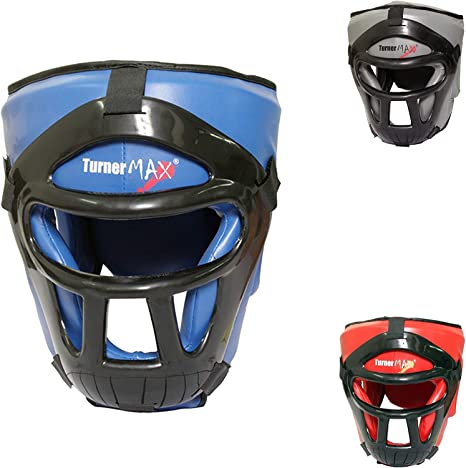 TurnerMAX Head Guard Kickboxing Training Gear Martial Art Helmet Open Face Black
