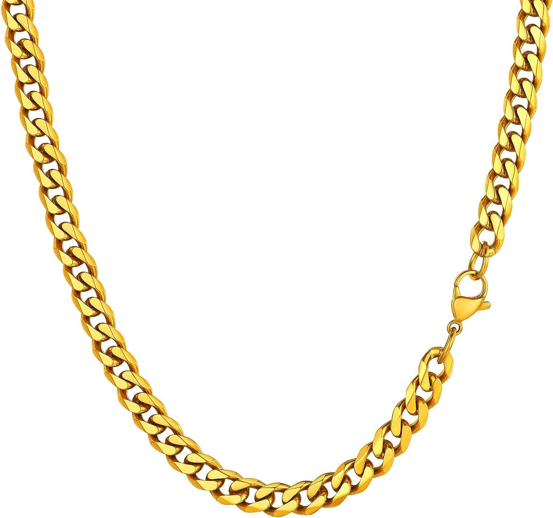 PROSTEEL Herren Halskette Klassische Panzerkette 3//6//9//12mm breit kubanische Gliederkette Herren Hip-Hop Kette Cuban Chain Necklace f/ür M/änner Jungen Edelstahl//18k vergoldet 36//46//51//55//61//66//71//76cm