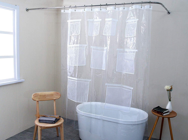Peva Shower Curtain Bathroom Waterproof Grommets 12 Rings 178 x 183cm Plastic