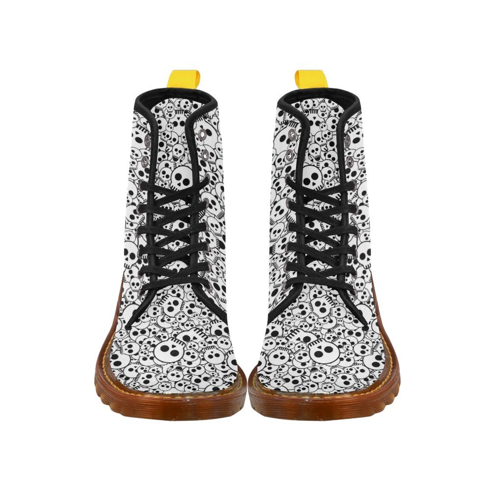 D-Story Shoes Cool Skull Lace Up Fashion Boots for Women