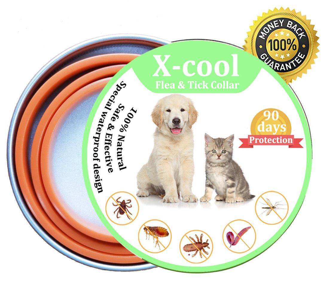 X-Cool Collar Antiparasitario para Perro y Gato, Seguro y Saludable Tamaño Ajustable e Impermeable, Detiene Mordeduras y Picazón, Mata a Los Huevos de ...