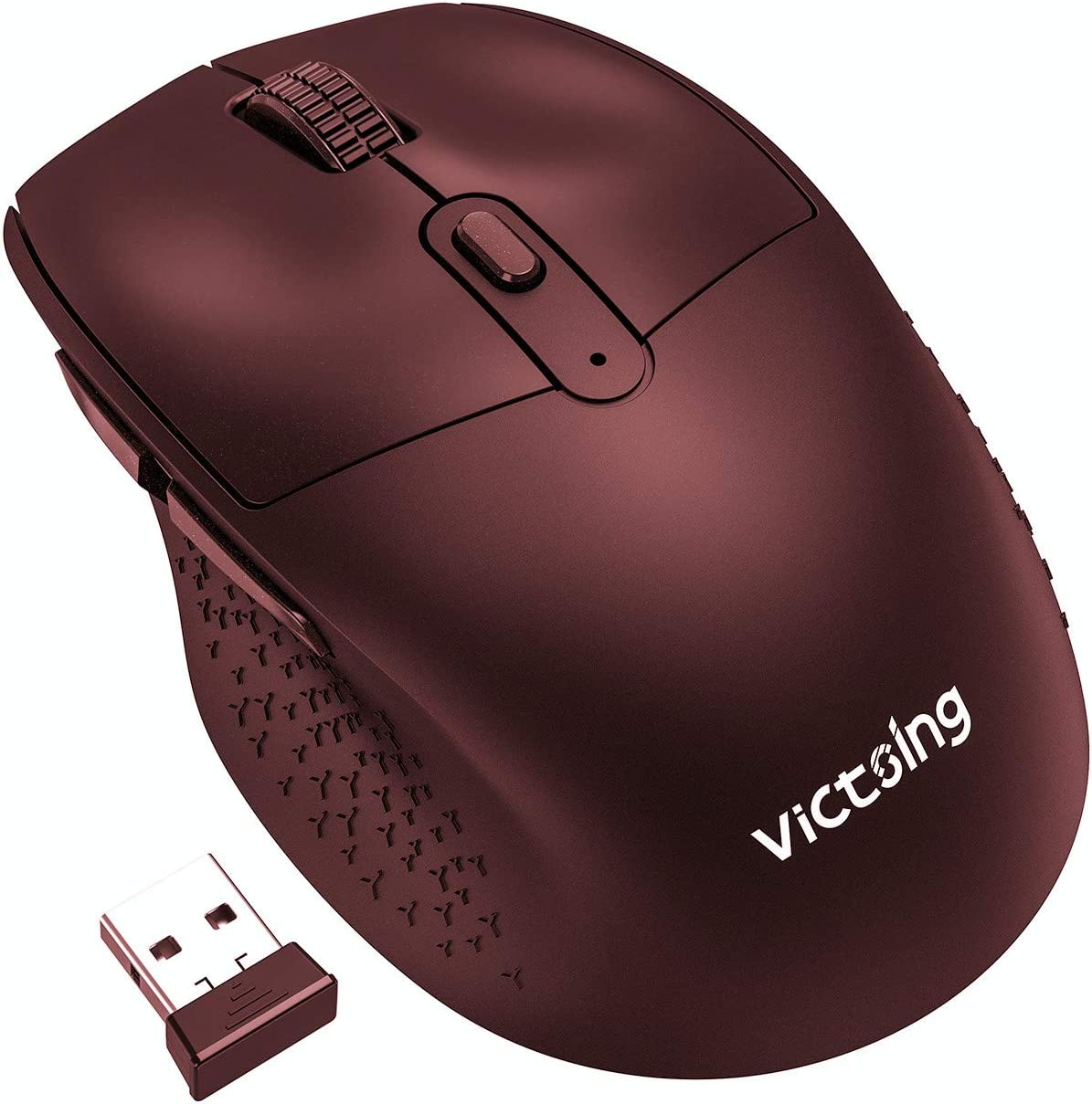 VicTsing Wireless Mouse Rechargeable, 2020 Unique Comfortable Ergonomic Mouse, Noiseless/Adjustable 2400DPI/6 Buttons, Cordless Mice with USB Receiver for PC, Computer, Laptop, MacBook