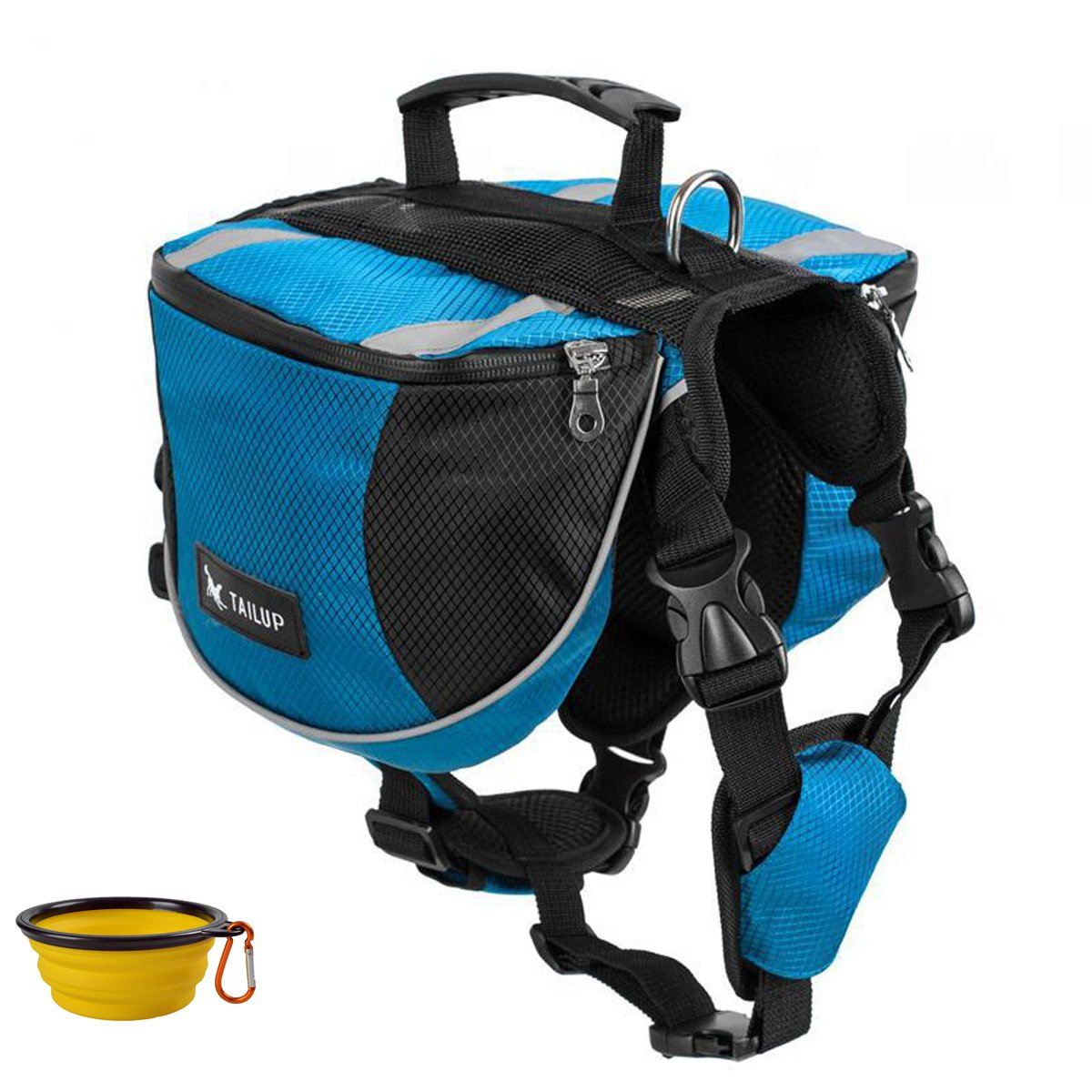 GrayCell Dog Saddlebags Hound Travel Hiking Camping Backpack for Medium Large Dogs (Blue,L) by GrayCell