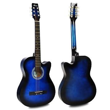 "HAPILIFE Guitarra cortada acústica 6 cuerdas 38"" tamaño 3/4 para niños principiantes manos"
