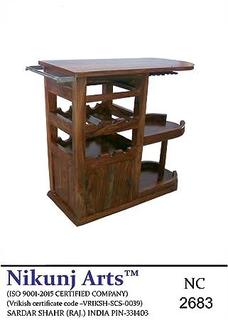 Nikunj Sheesham Wood Modern Bar Troly Bar Cabinet - Brown