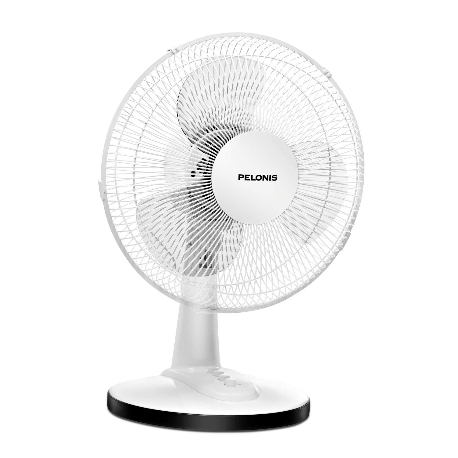 PELONIS FT30-15H Portable 3-Speed 12-Inch Oscillating Table Air Circulation Fan, White, 12 Inch by PELONIS