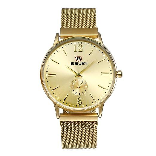 Avaner Reloj Dorado de Esfera Dorada Oro Dial Hombre Grande Reloj de Caballero Cuarzo Japonés, Reloj de Hombre Acero Inoxidable Hip Hop Style: Amazon.es: ...