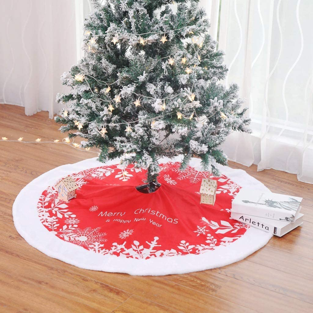 Rustic Xmas Tree Holiday Decorations DearHouse Christmas Tree Skirt 48 inch Red Snowflake Tree Skirt with Withe Plush Faux Fur Edge for Christmas Decorations