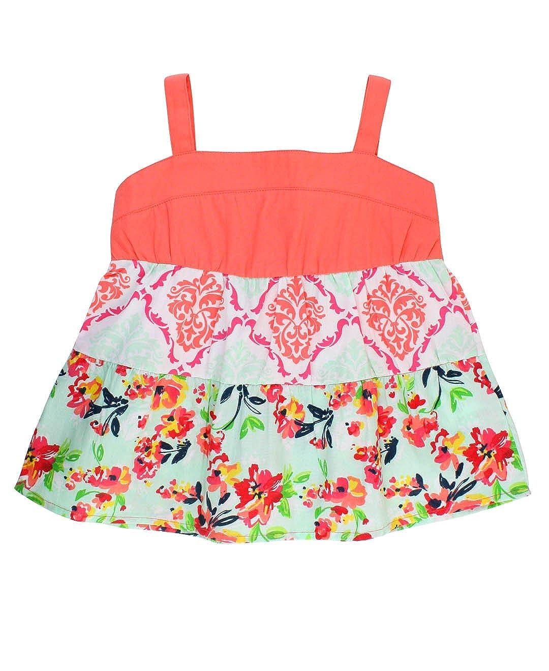 RuffleButts Infant/Toddler Girls Floral Mix-Print A-Line Tank TTWPIXX-PFDM-BABY