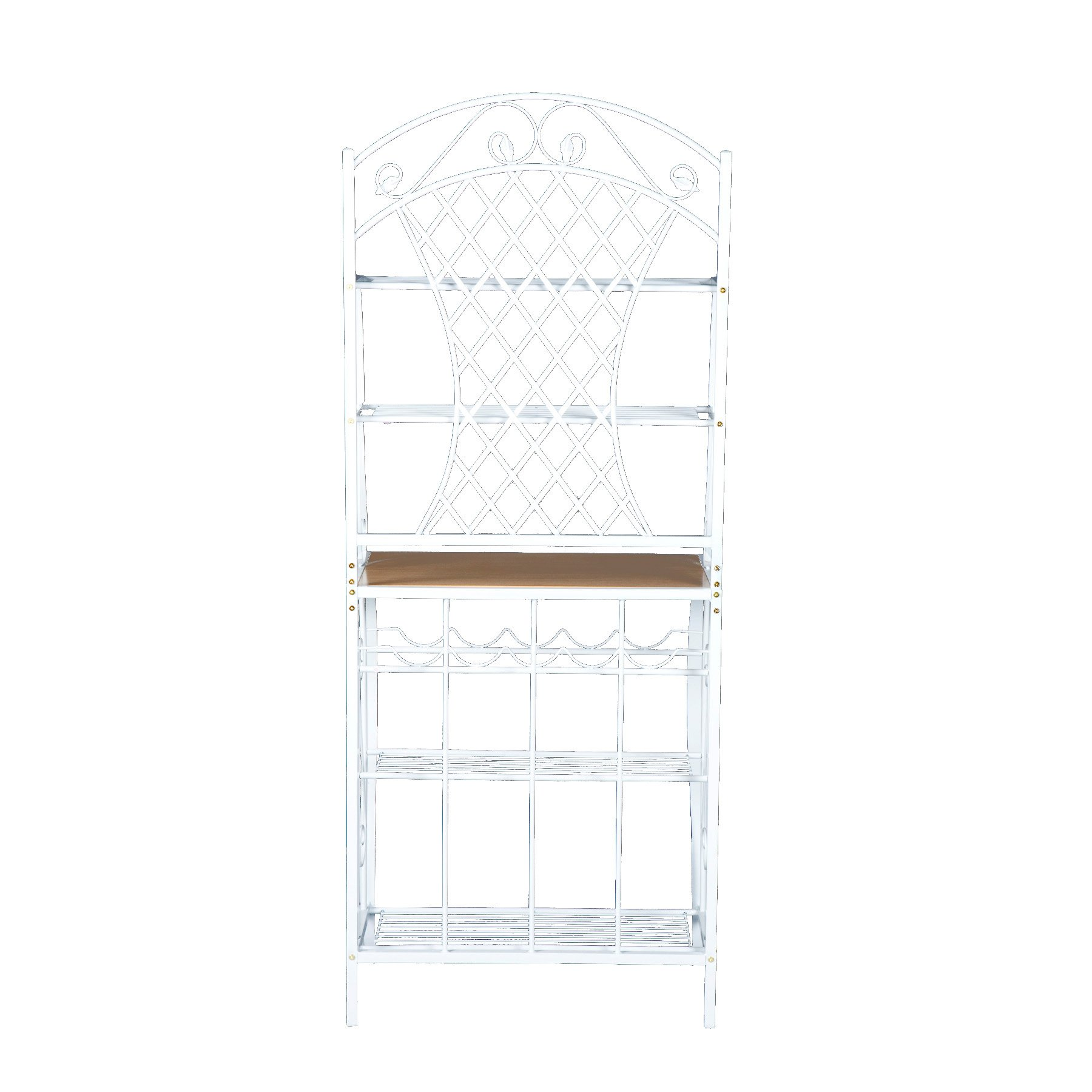 Southern Enterprises Trellis Bakers Rack with Scroll Work, White with Oak Finish by SEI (Image #2)