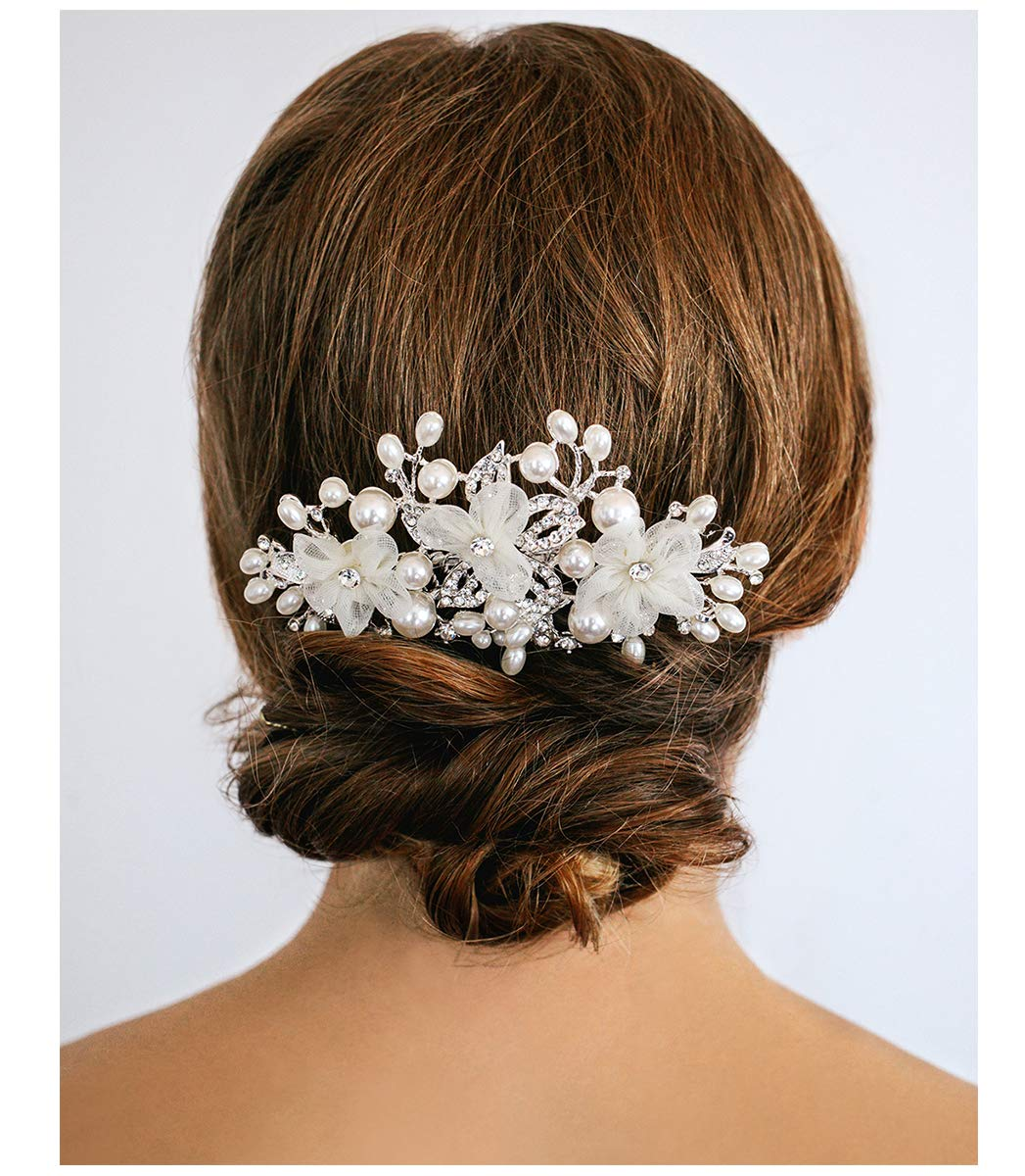 SWEETV Flower Wedding Hair Comb Ivory Pearl Clip,Bridal Hair Piece Women Hair Accessories for Brides by SWEETV