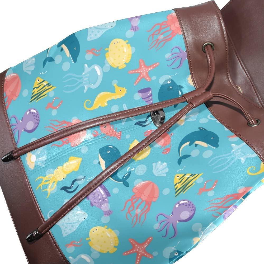 KUWT Underwater Animals PU Leather Backpack Photo Custom Shoulder Bag School College Book Bag Rucksack Casual Daypacks Diaper Bag for Women and Girl