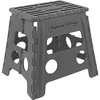 "Inspired Living Step Heavy Duty Folding-stools, 13"" High, Dark Grey"