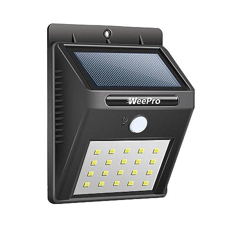 WeePro Foco Solar 20 LED Exterior Impermeable IP64 con Sensor de Movimiento y Luz, Lámpara