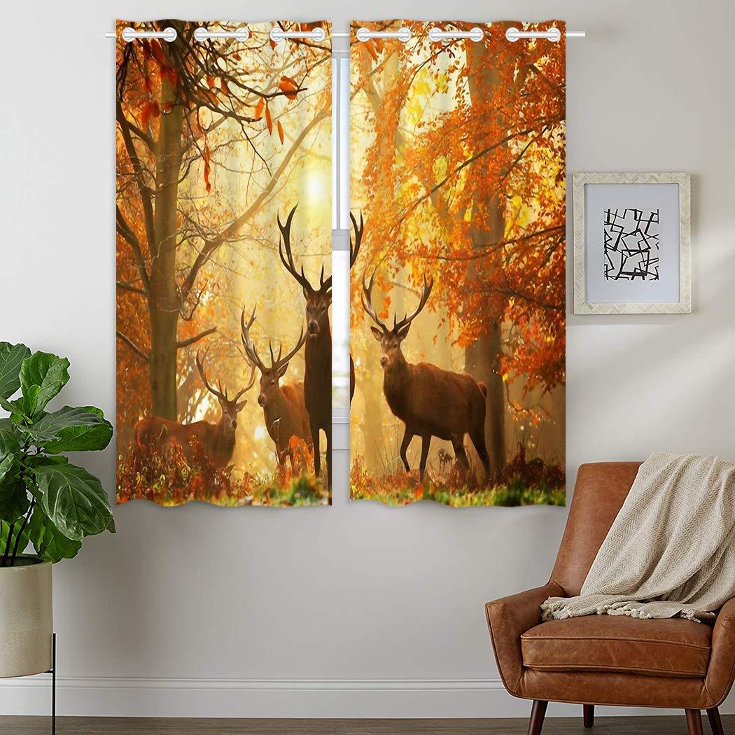 YISUMEI - Gardinen Blickdichter - Autumn Woods Hirsch,180 x 140 cm 2er Set Vorhang Verdunkelung mit Ösen für Schlafzimmer Wohnzimmer