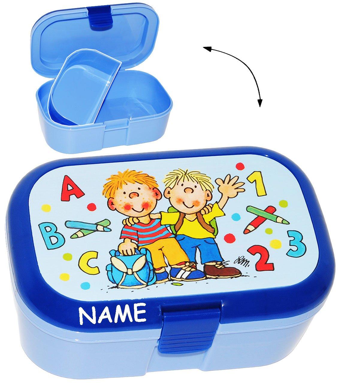 Jungen incl Name Brotb/üchse K/üche Essen mit extra Einsatz // herausnehmbaren Fach Schule ABC f/ür Kinder Ki.. alles-meine.de GmbH Lunchbox // Brotdose Schulanfang