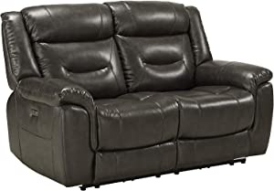 ACME Imogen Loveseat (Power Motion) - - Gray Leather-Aire