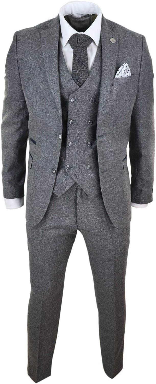 TruClothing.com Mens Wool 3 Piece Suit Double Breasted Waistcoat Tweed Peaky Blinders 1920s
