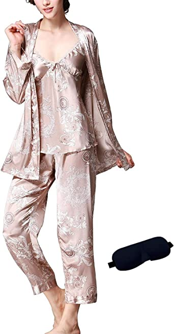 Mens Summer 100 Silk Pajamas Set Long-Sleeved Loungewear Wear Two-Piece New Pyjamas Sets Color : A, Size : L