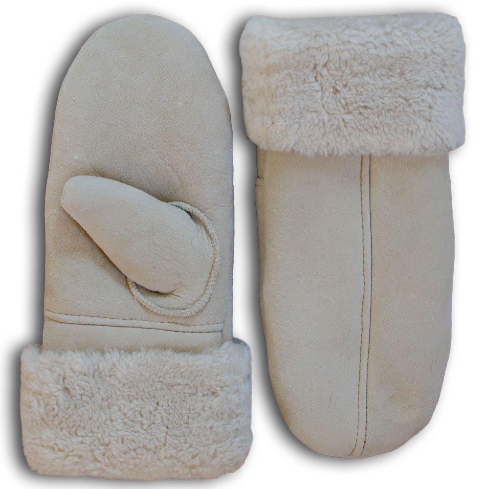 SamWo, guanti/muffole per donna, 100% in pelliccia di agnello, taglia: M, colore naturale