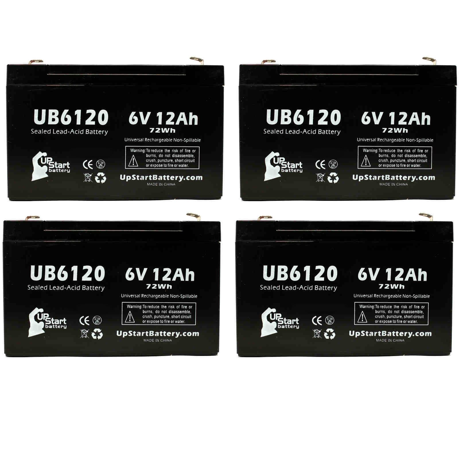 4 Pack Replacement for Sentry LITE PM6100 Battery - Replacement UB6120 Universal Sealed Lead Acid Battery (6V, 12Ah, 12000mAh, F1 Terminal, AGM, SLA) - Includes 8 F1 to F2 Terminal Adapters