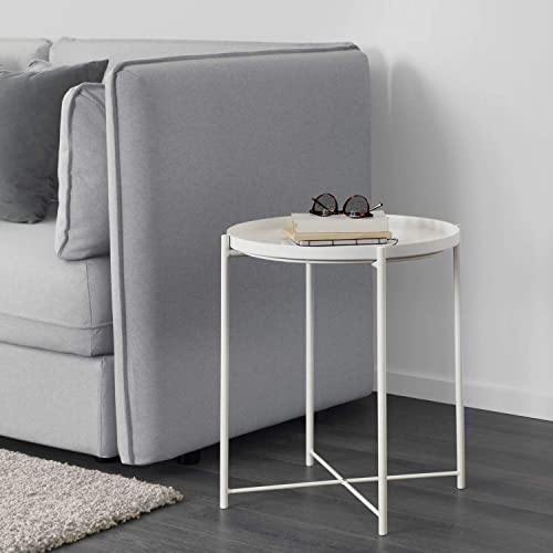 Altrobene Thick Metal Round End Side Table, Night Stand Coffee Table with Removable Tray for Living Room Bedroom, White