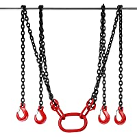 Happybuy 13FT Chain Sling 5/16 Inch X 13 FT Engine Lift Chain G80 Alloy Steel Engine Chain Hoist Lifts 5 Ton with 4 Leg Grab Hooks and Adjuster Used in Mining, Machinery, Ports, Building