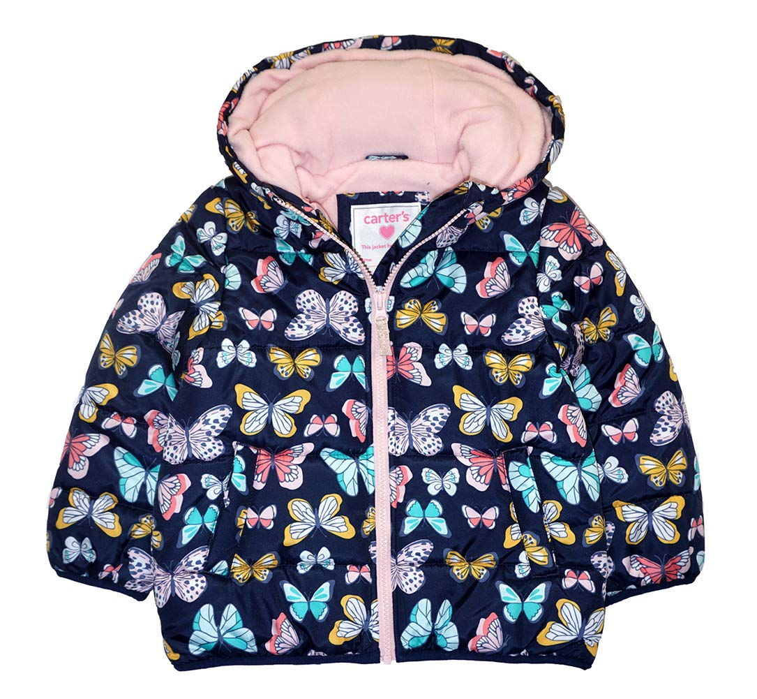 Carter's Baby Girls Fleece Lined Puffer Jacket Coat, Butterfly On Navy, 18 Months by Carter's