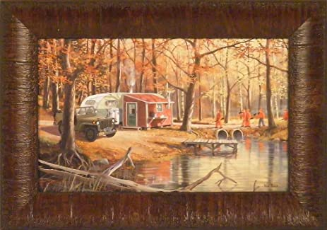 Amazon.com: The Deer Hunters by Ken Zylla 11x15 Hunting Camp Jeep ...