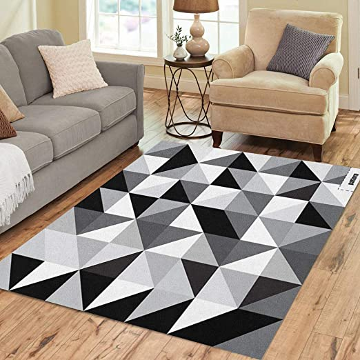 Modern Black White Abstract Rug Geometric Triangles Pattern Contemporary Design